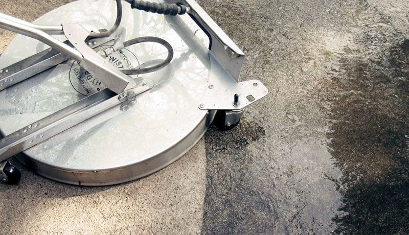 High pressure concrete cleaning